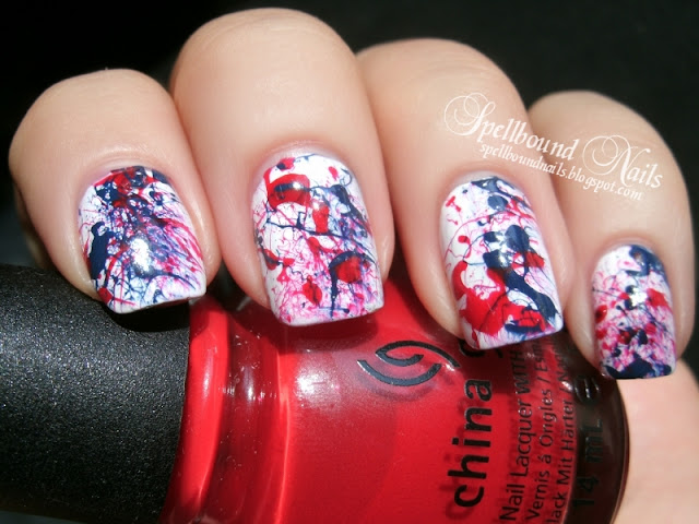 patriotic splatter 4th of July Independence Day United States of America red white blue nails nail art nailart mani manicure Spellbound
