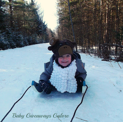 child on a sled, winter, nature
