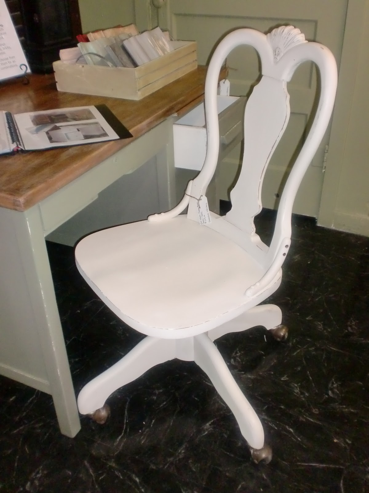 Embellish & Restore Chateau Grey Desk and Old White Queen Anne Chair