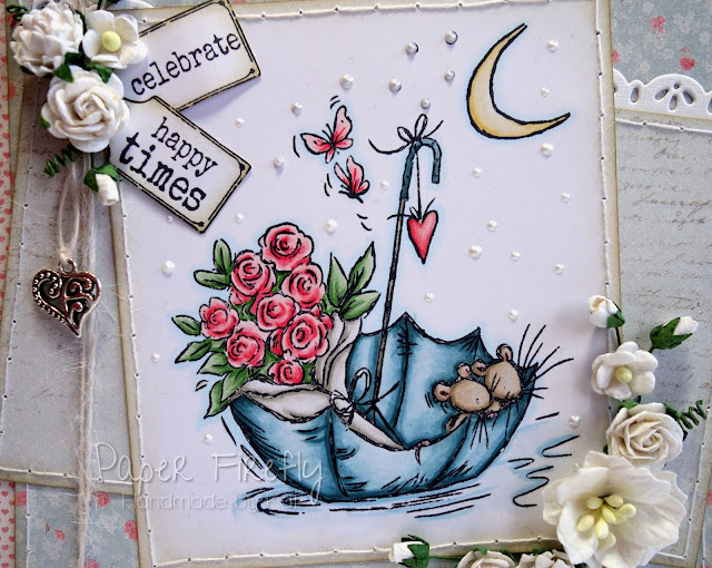 Romantic vintage style wedding card featuring cute mice in an umbrella (image from Crafter's Companion)