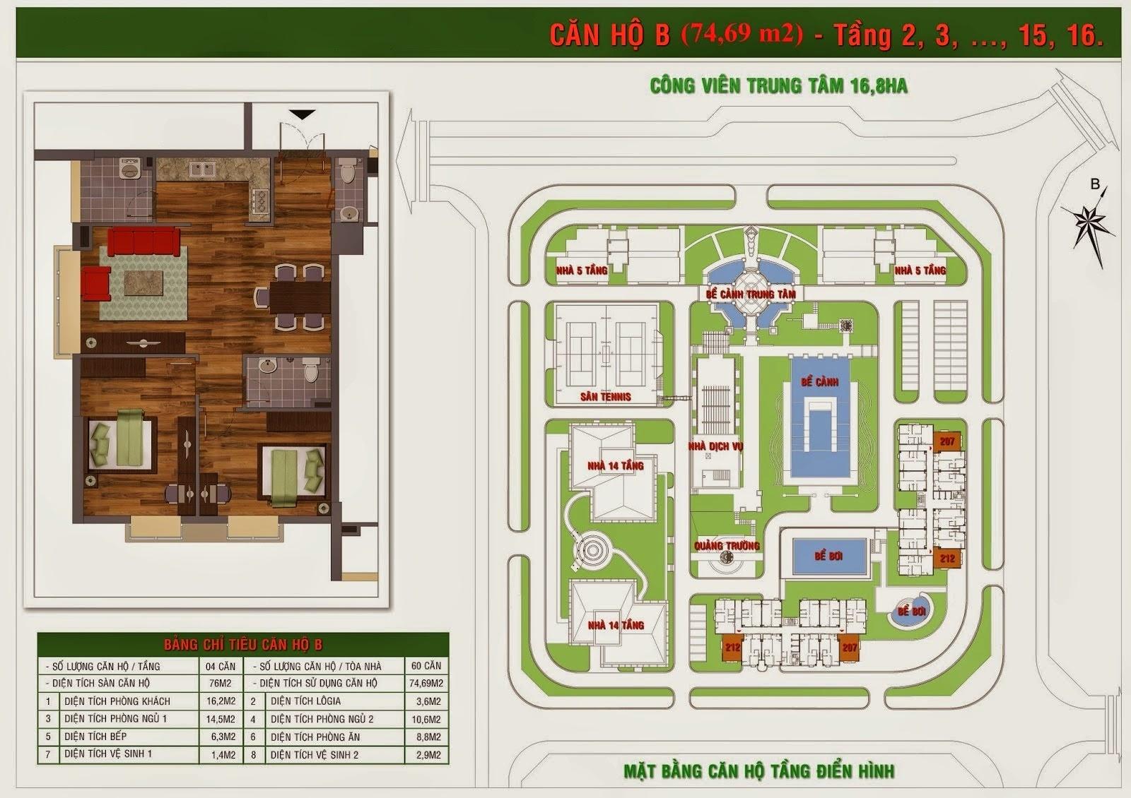 căn 74 m2 Chung cư Green House