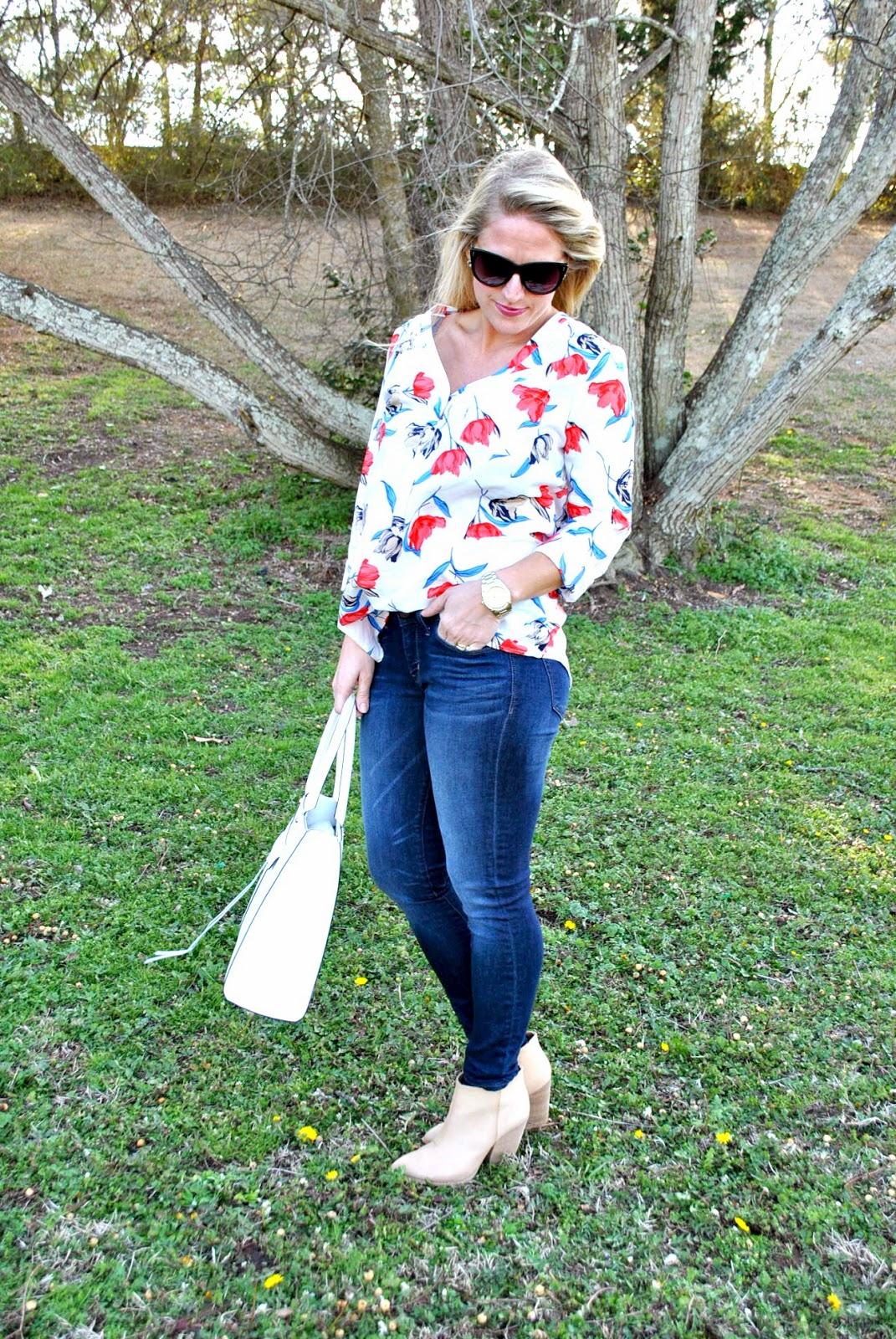 Old Navy Floral Print Shirt, Skinny Jeans, Rebecca Minkoff Handbag