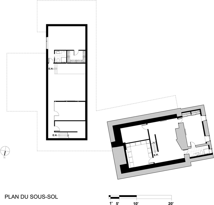 Basement floor plan of Renovated Bord-du-Lac House by Henri Cleinge