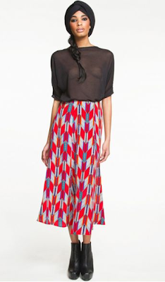 Navajo Print Midi Skirt