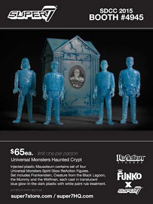 San Diego Comic-Con 2015 Exclusive Universal Monsters Haunted Crypt ReAction Figure Set by Super7 - Frankenstein, Wolfman, The Mummy & The Creature from the Black Lagoon