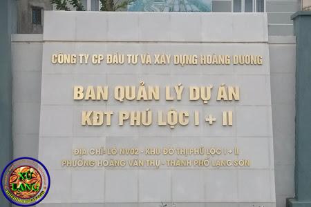 Địa chỉ ban quản lý khu đô thị Phú Lộc I-II TP Lạng Sơn