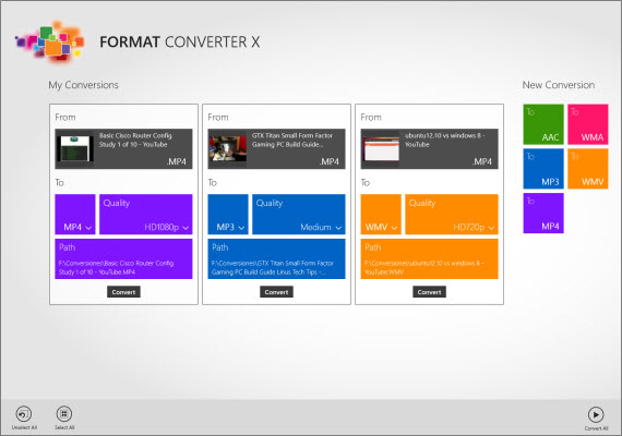 Convierte audio y video con una app para Windows 8