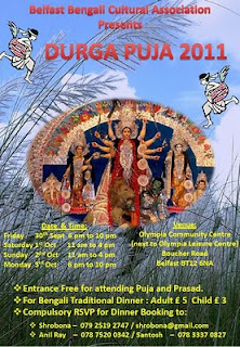 Poster advertising Durga Puja celebrations in Belfast 2011