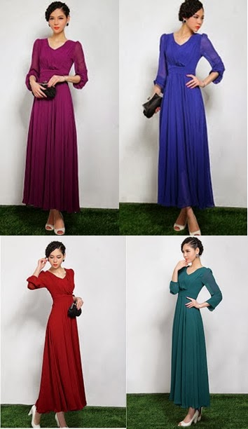 Long Sleeve Chiffon Maxi