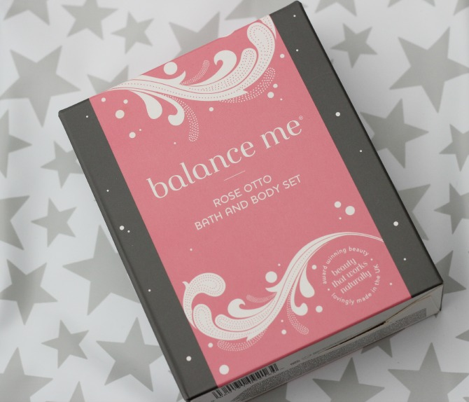 Balance Me Rose Otto bath and body set