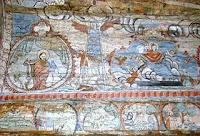 sus: Evanghelistul Luca; Scara lui Iacov; Înălțarea Maicii Domnului; jos: Corabia lui Noe pe muntele Ararat; Arderea Somorei și Gomorei; Dumnezeu îi poruncește lui Avraam să-și sacrifice fiul; Isaac adus spre jertfă.