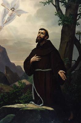 En la imagen San Francisco de Asis orando en la montaña.