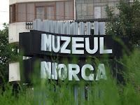 Nicolae Iorga Museum sign, Valenii de Munte