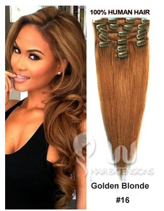 18 inch Golden Blonde(#16) Clip in Hair Extensions 180g/10pcs