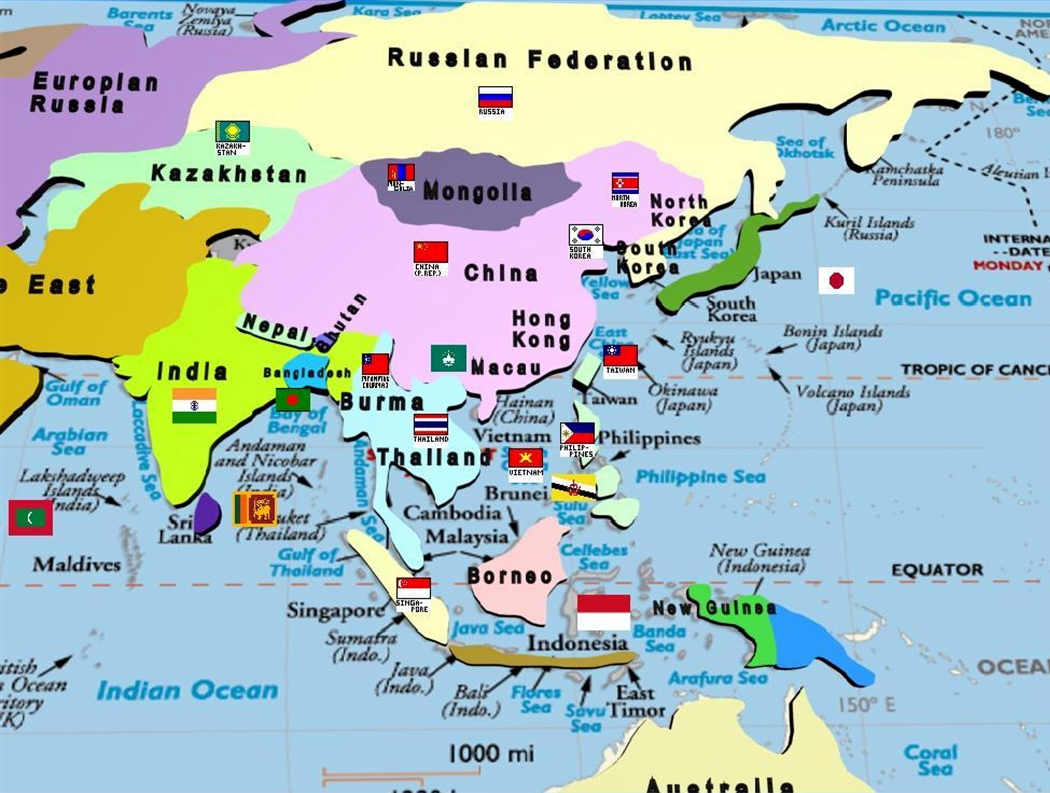 Asia Continent Map With Countries And Capitals - Asian countries map