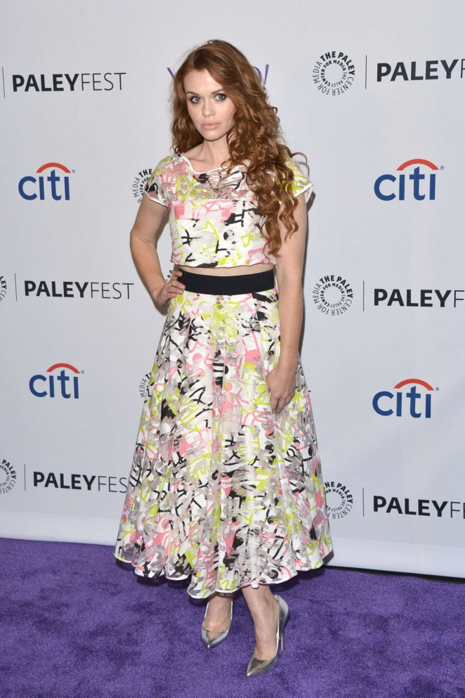 Holland Roden in a colourful cropped top and midi skirt at the 2015 PaleyFest in Hollywood
