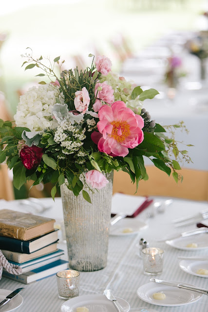Roses, dahlias, Coral Charm peonies,Lisianthus, Hydrangea, Queen Anne's Lace, Isha Foss Events