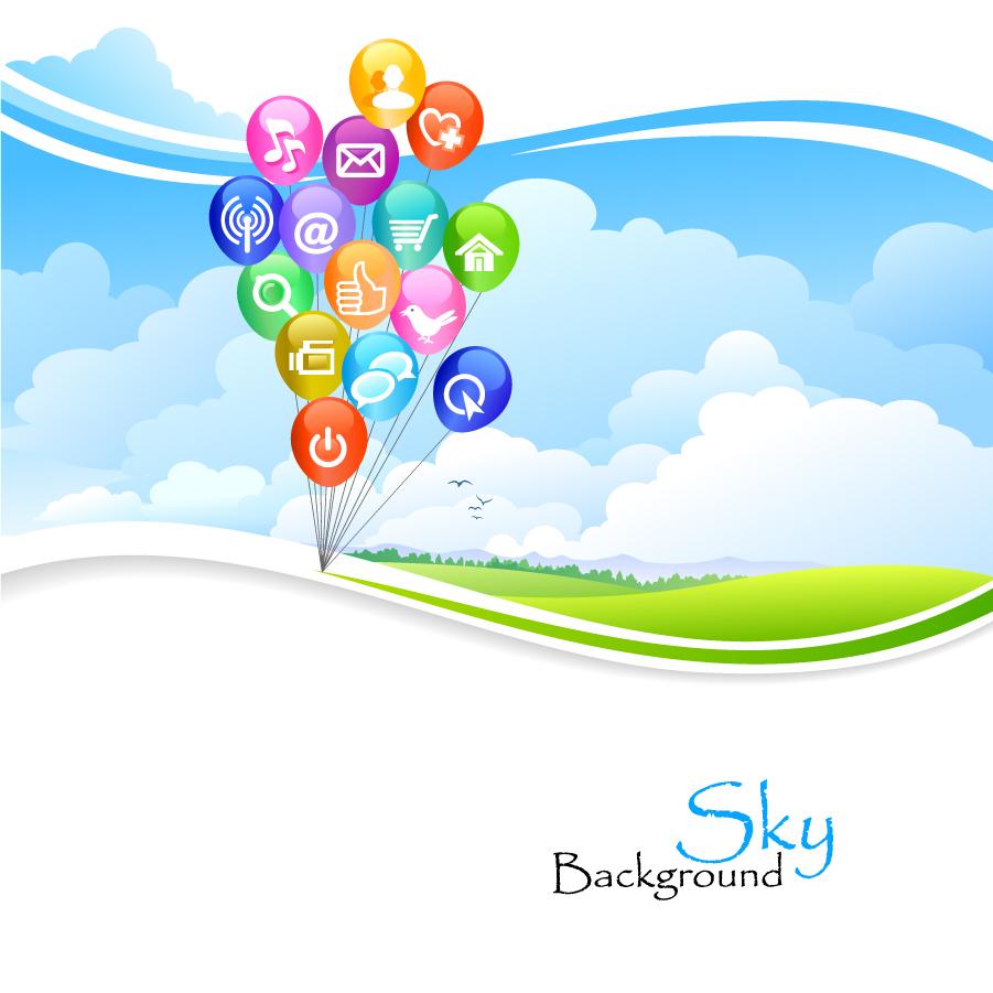 草原の大空に浮かぶ風船 countryside dream balloon background イラスト素材