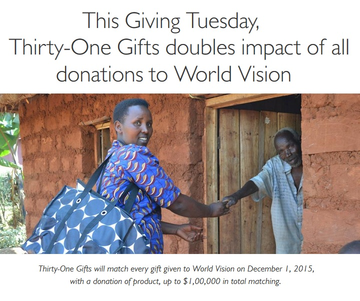 Giving Tuesday Thirty-One Gifts World Vision