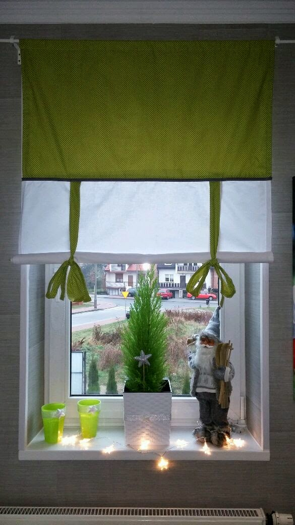 roleta z materiału , roleta hand made , zielona roleta