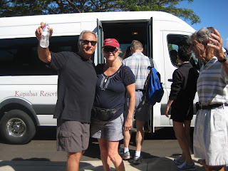 Getting on the Shuttle at Kapalua Resort