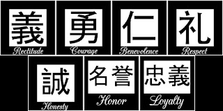 the seven virtues of the samurai written in kanji