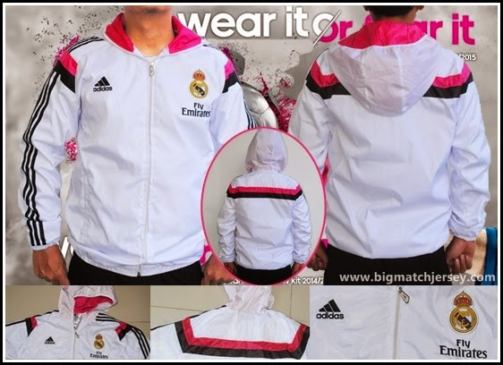 Jaket Hoodie Real Madrid Anthem Cross White 2014-2015