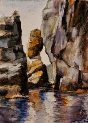 Owl's Head, gouache on paper, landscape, by Shannon Reynolds
