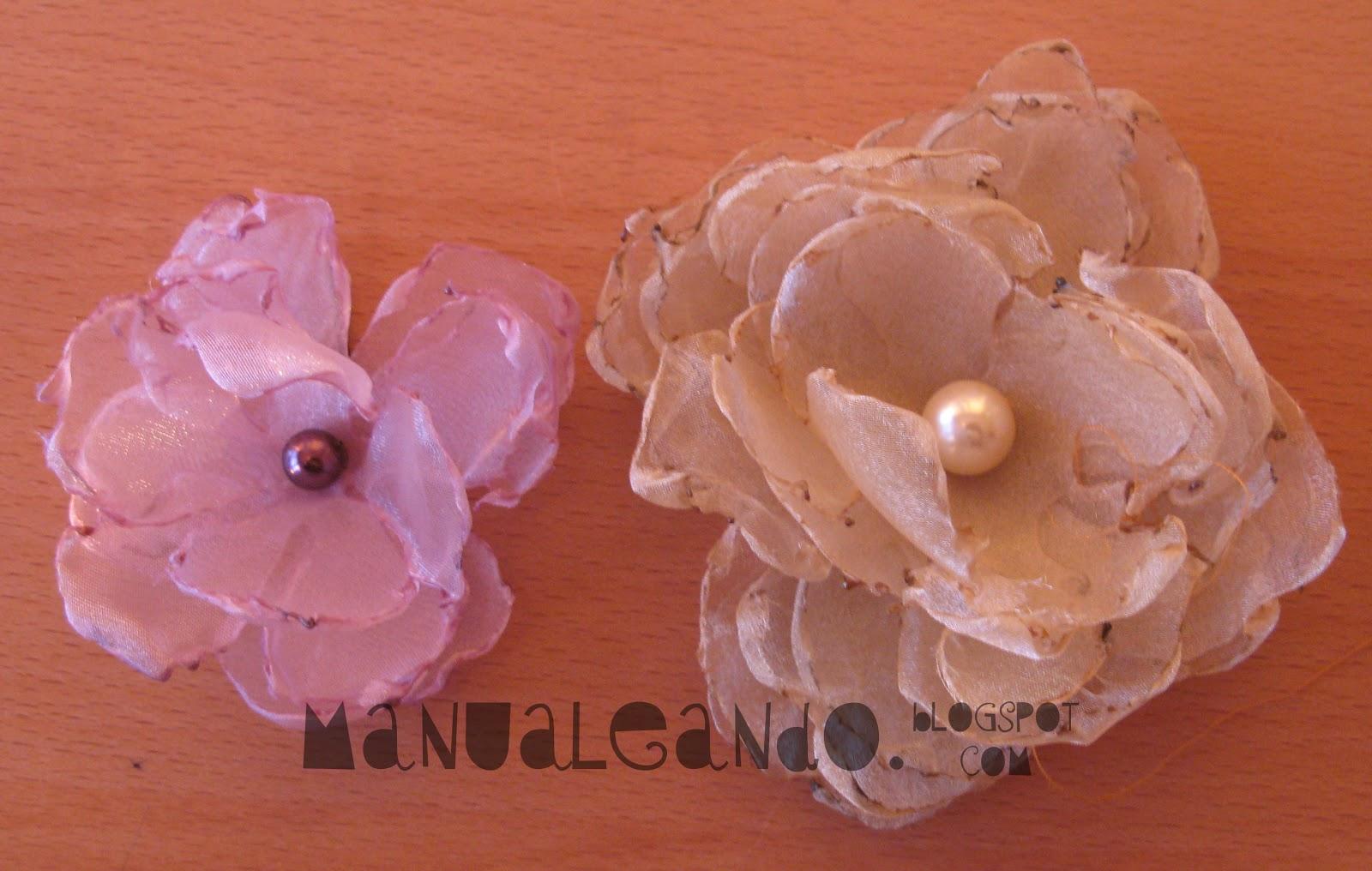 Manualeando: Broches: Flores de tela y cinta