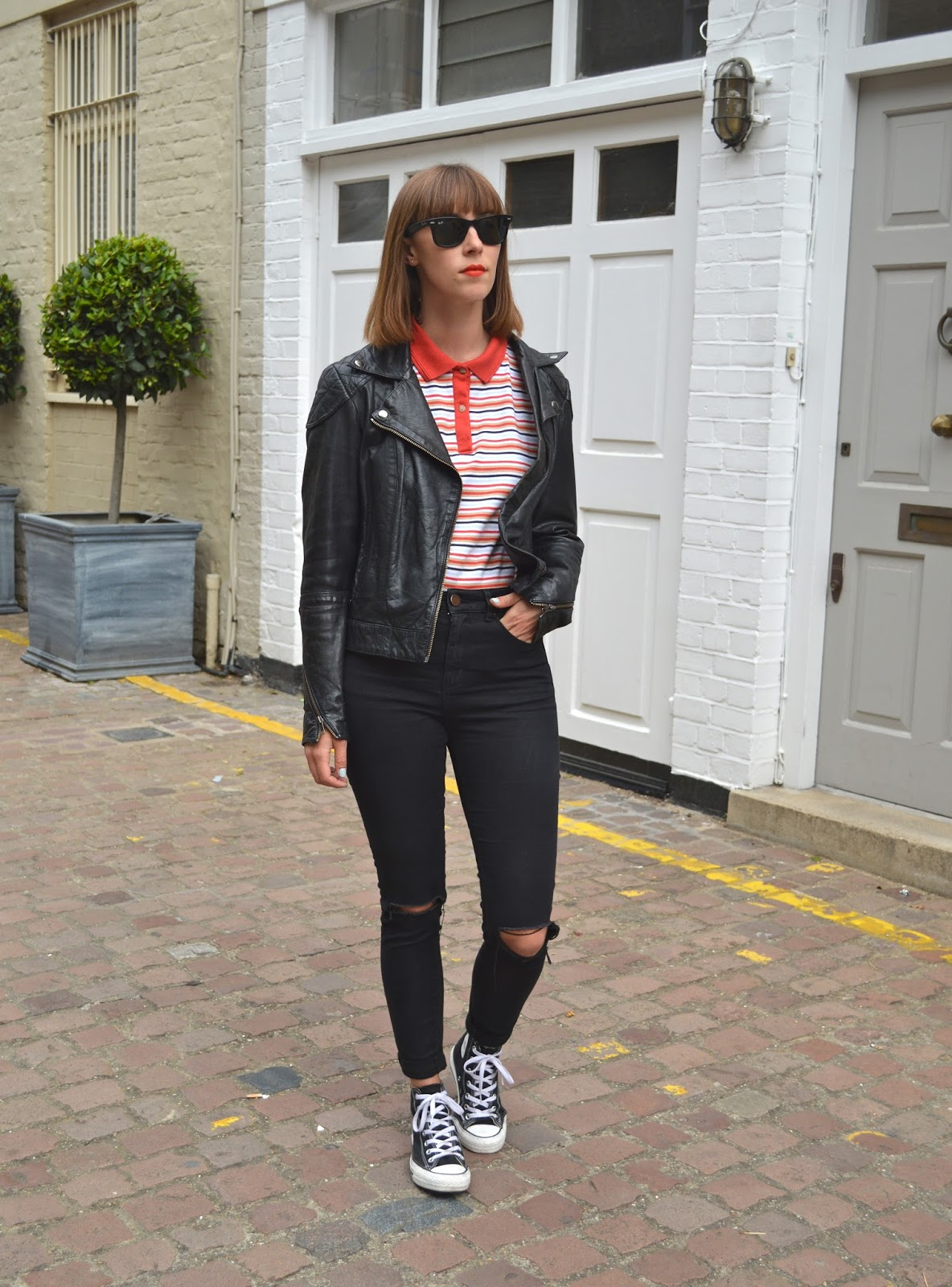 ASOS leather jacket, striped polo shirt and ASOS ripped jeans