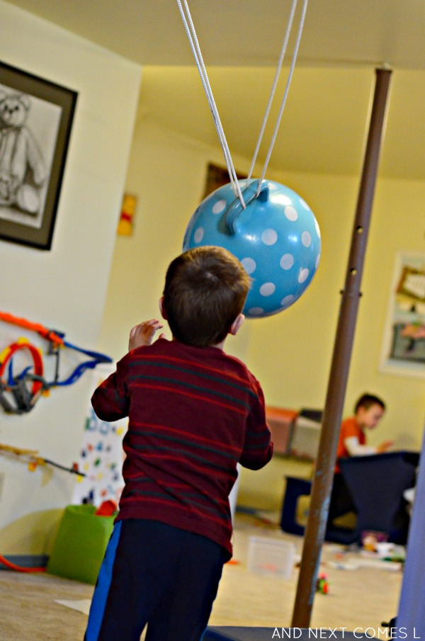Diy ball swing sensory hack for kids and next comes l for Diy kids swing