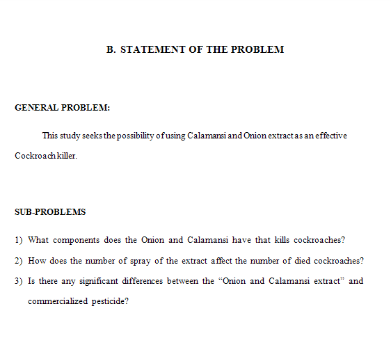 Research proposal statement of the problem
