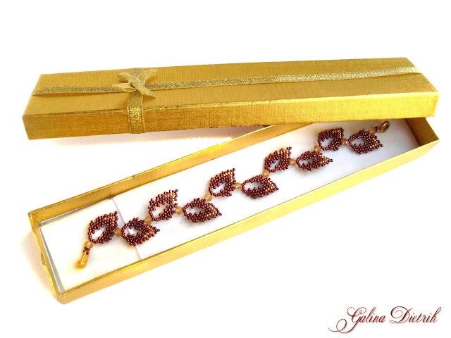 Бронзовый браслет ручной работы из японского бисера