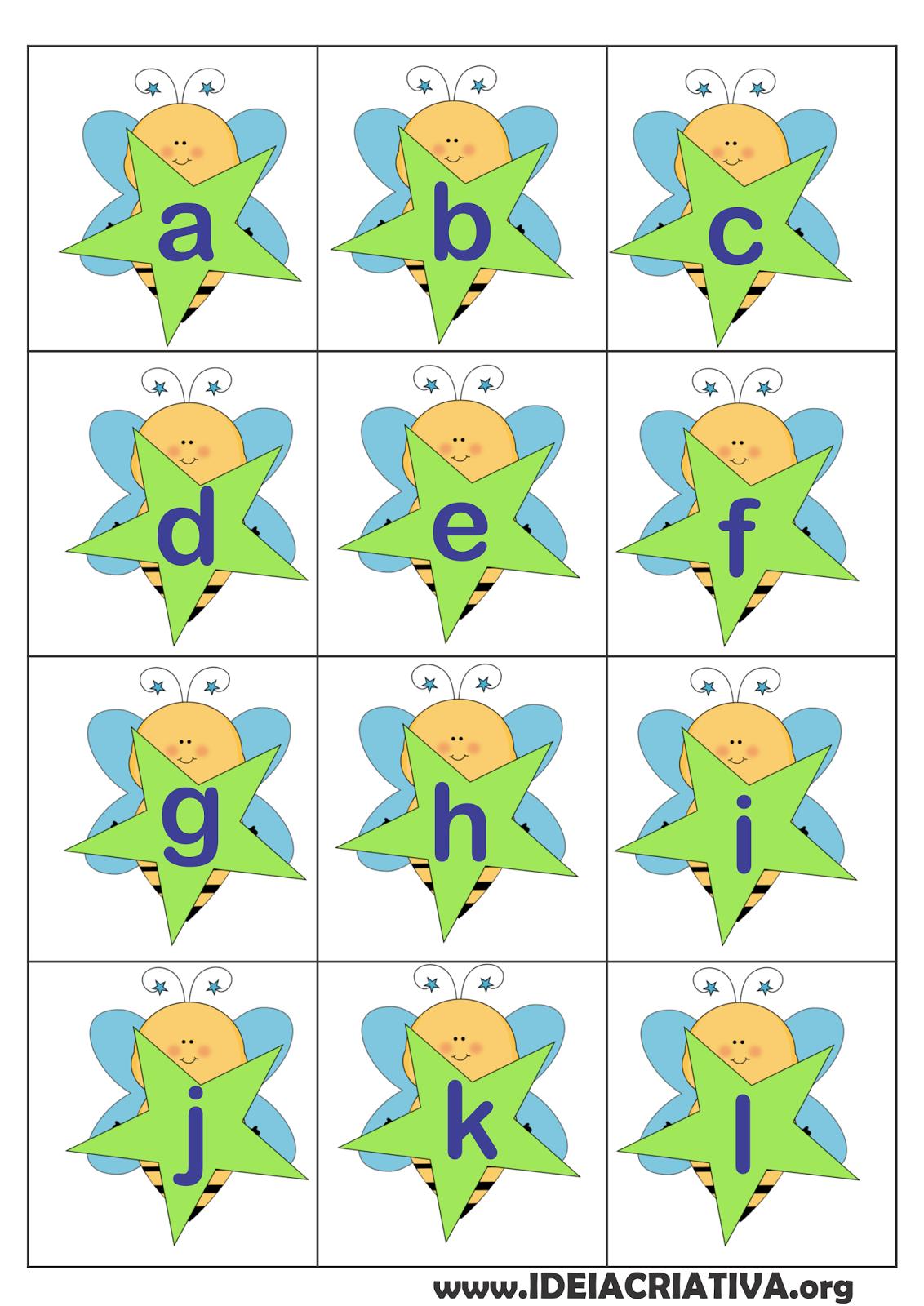 Quadradinhos Letras  Alfabeto Numerais  Abelhinha