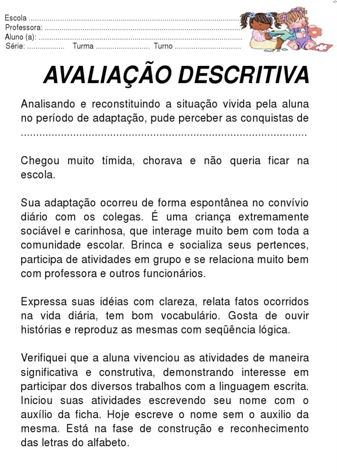 Well-known Meus Trabalhos Pedagógicos ®: Avaliação Descritiva - Modelo EJ65