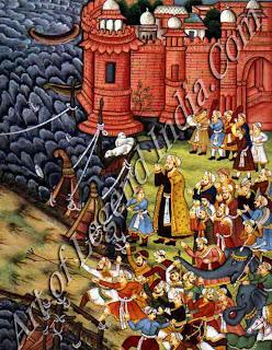 Akbar Restrains hawa'i an Enraged elephant and Spectators