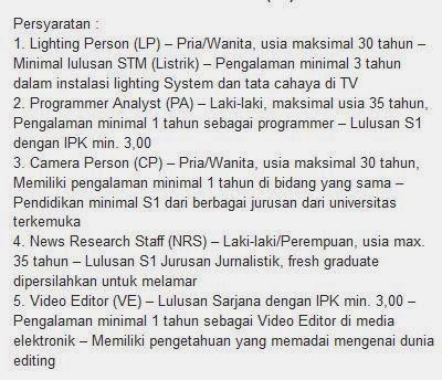 lowongan kerja terbaru tv one surabaya januari 2014