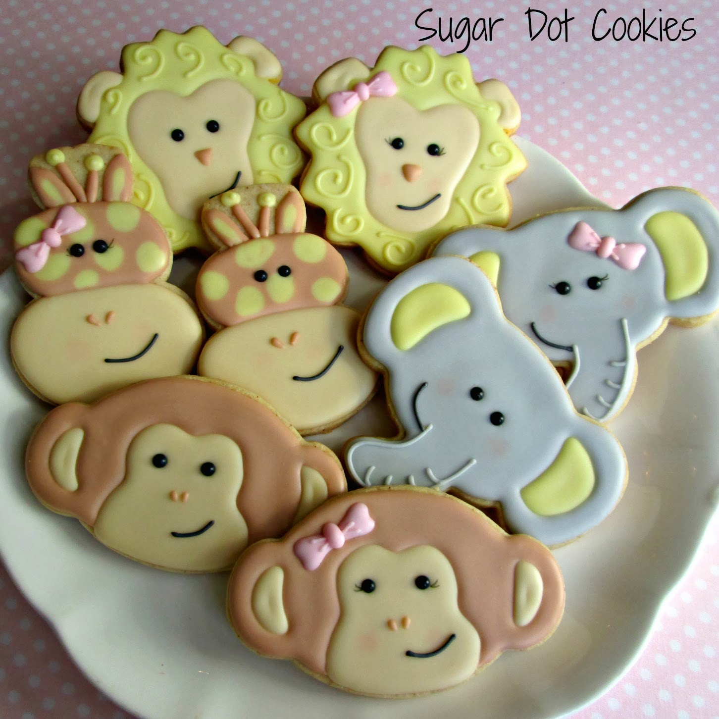 Pink White Animal Cookies Cup Cakes