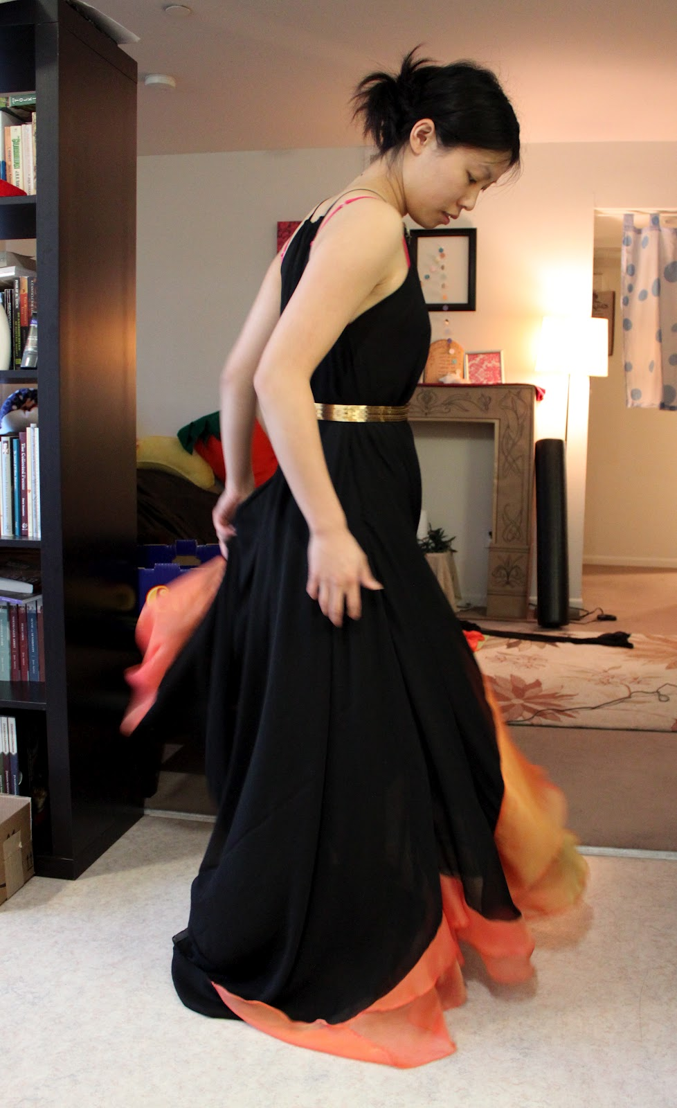 More twirling in the girl on fire dress