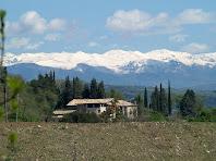 Els Saits amb el Pirineu nevat des de Sant Andreu de Gurb