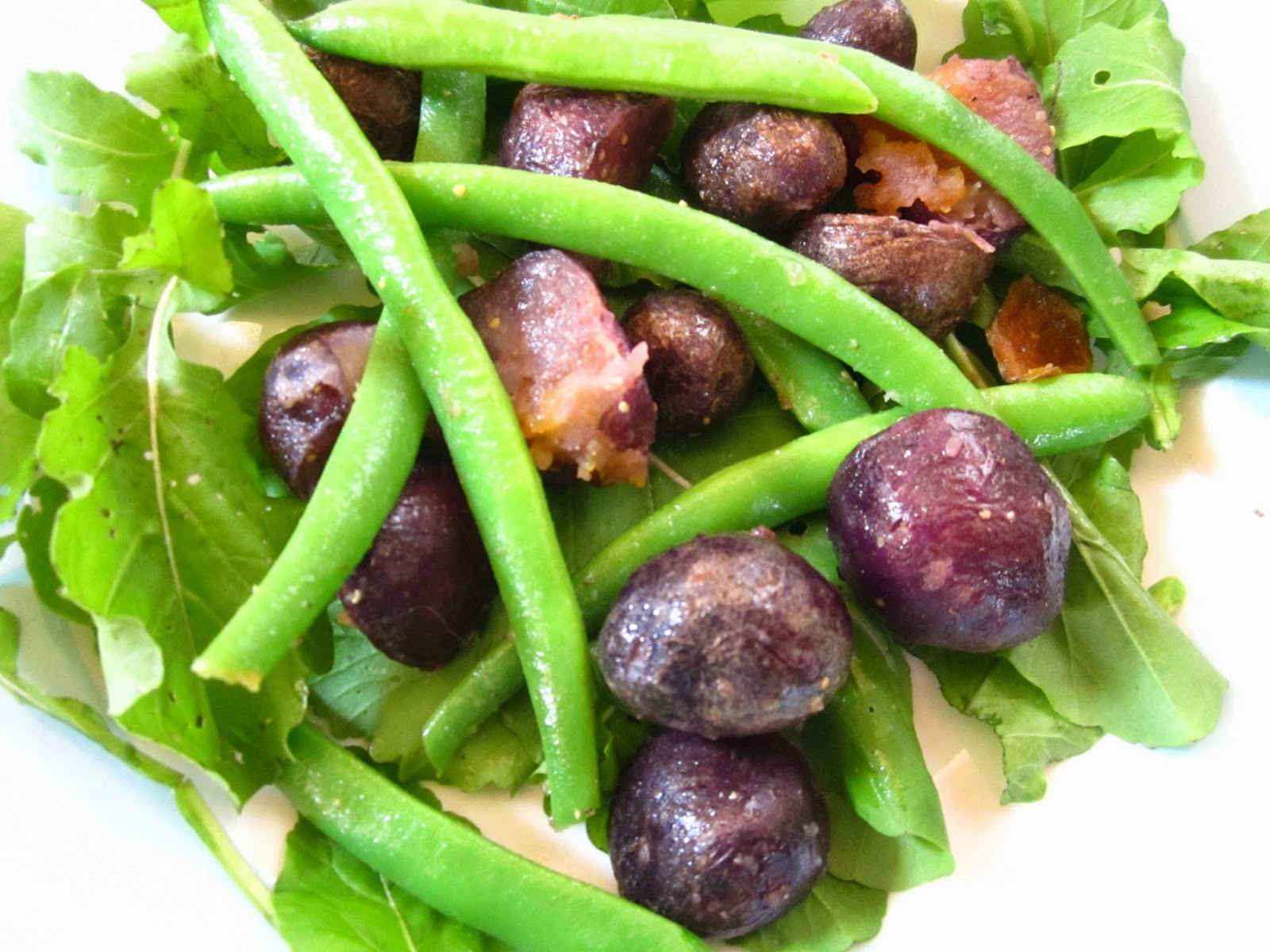 ... Salad #3: Green Beans and Blue Potatoes (with lemon anchovy dressing