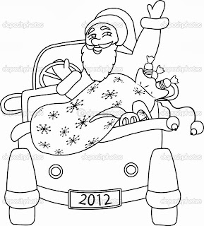 desenho papai noel de carro