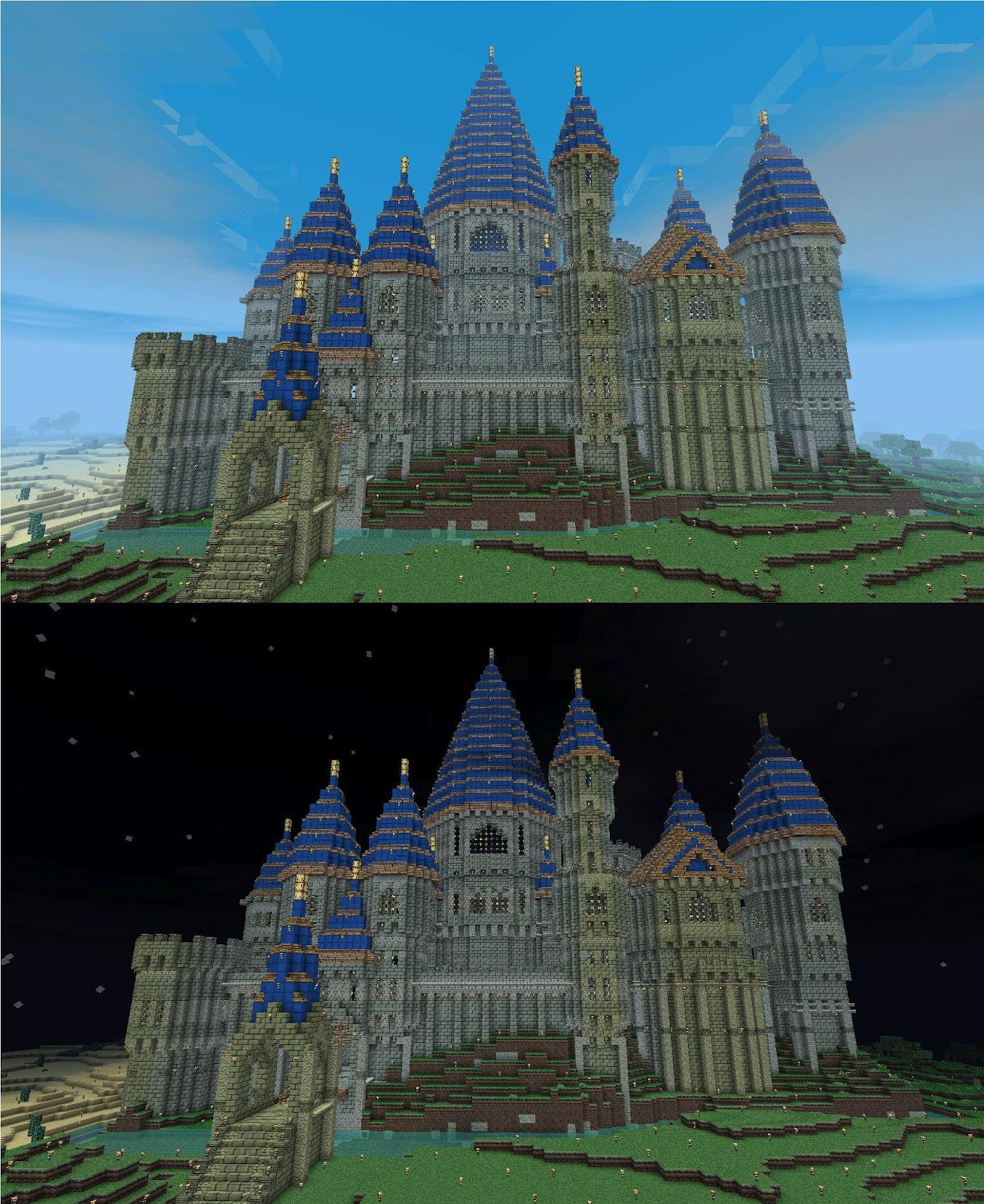 Enormous Colourful Minecraft Castle