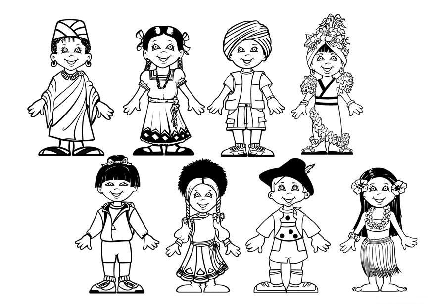 Niños del mundo representando las razas para colorear