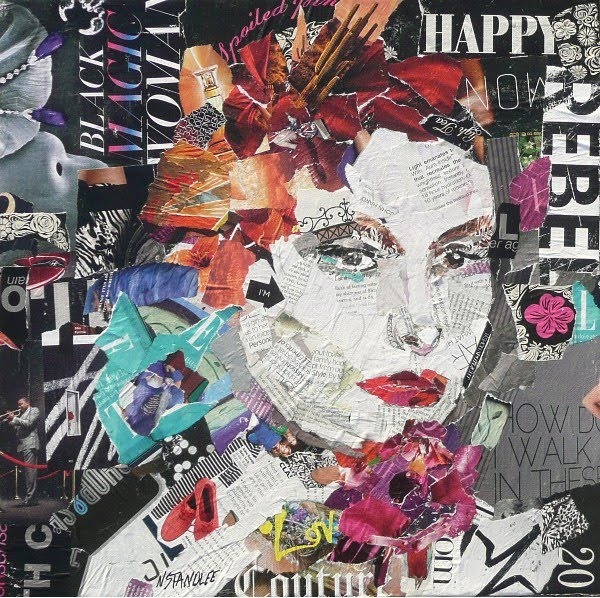 Paper collage art on canvas