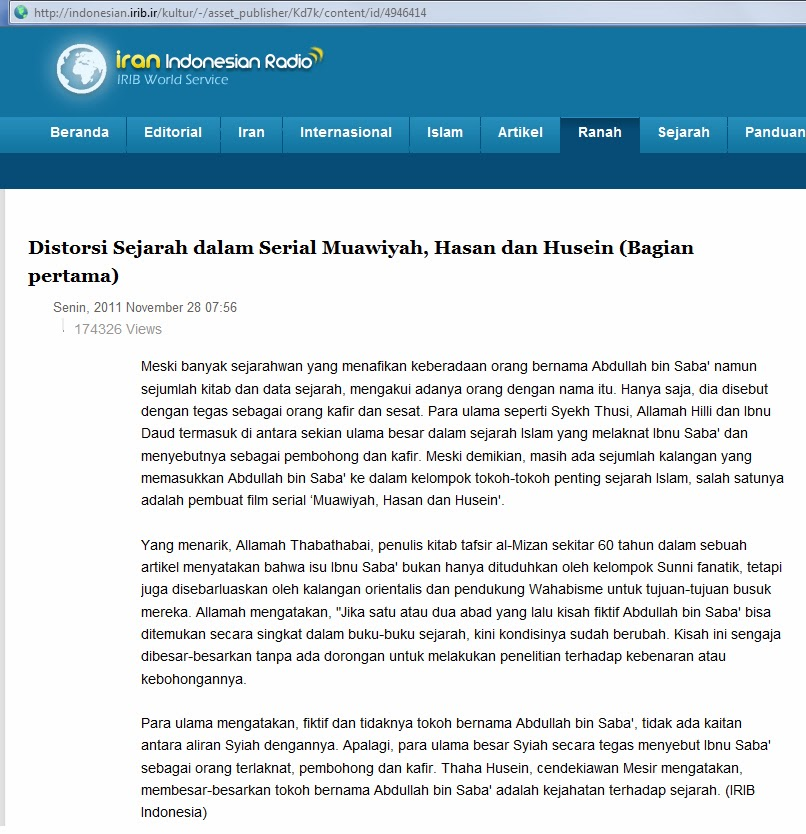 Syiah Mengakui Ibnu Saba'