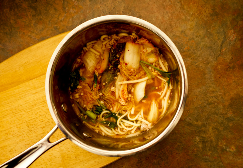 Quick Easy Five Ingredient Udon Noodle Soup With Pork Vegetables And Kimchi In A Miso Broth