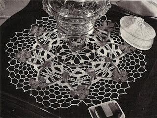 Crochet Pink Clover Doily Pattern, Vintage 1940s