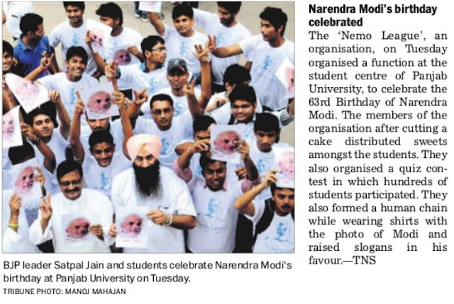 BJP leader Satya Pal Jain and students celebrate Narendra Modi's birthday at Panjab University on Tuesday.