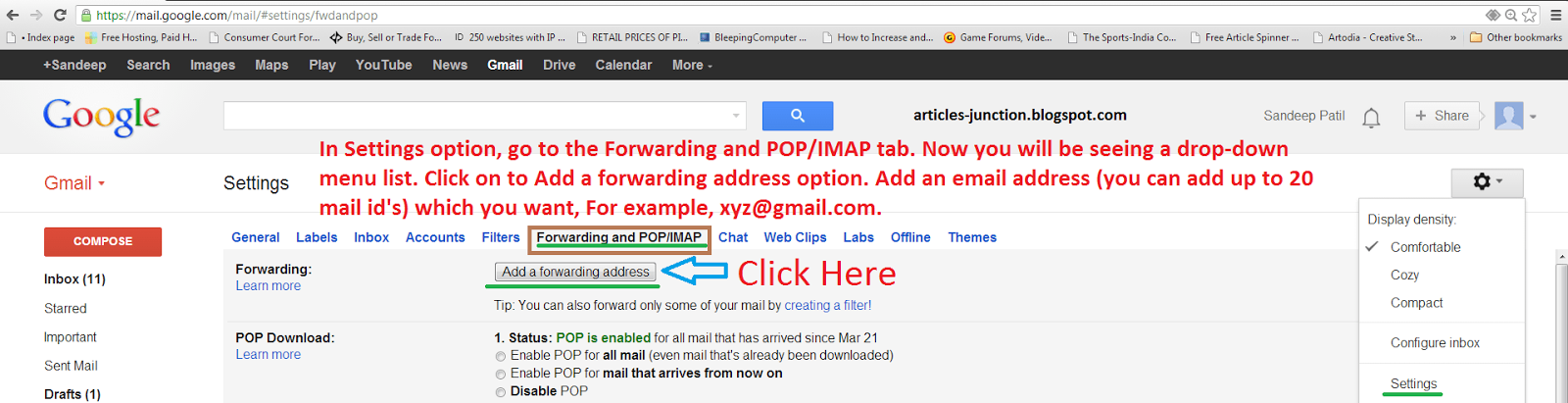 Forwarding and POP IMAP Tab in Gmail